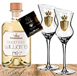 Geschenkset Bodensee Williams No 1 inkl. 2 Gläsern|MIT GESCHENKBOX und Brevier|Das Luxus Geschenk für Männer|Ein supermilder Williams-Birnen-Brand mit intensiven Birnengeschmack plus 2 Original Gläser