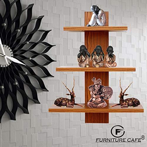 Decor Book Shelf/Wall Display Rack (3 Shelves) - Ideal for Gift (Teak) (Standard, Teak Natural) - Novello Wall Mount