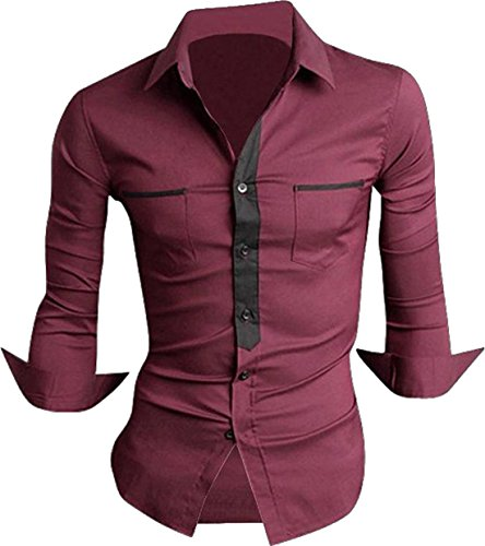 jeansian Herren Freizeit Hemden Shirt Tops Mode Langarmshirts Slim Fit 8514 WineRed