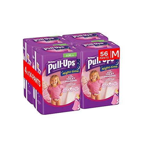 Huggies pull-ups de la noche tiempo–pantalones de entrenamiento para el orinal para las niñas, tamaño mediano