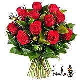 Flores Frescas Florachic - 12 Rosas Rojas sin jarrón - flores enviadas directamente del campo a tu casa