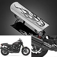 LEAGUE&CO League & Co universal Tubo de escape calor placa protectora Protección de calor Chapa de protección de calor para Harley Davidson Honda Suzuki Yamaha etc, 04-Silber