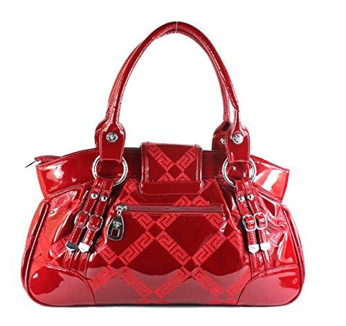 Borsette In Pelle Di Brevetto PACK Borsa Di Big Bag Borsa Di Lingge Ladies Di Modo,Red Red