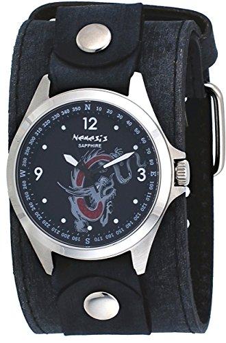 Nemesis FLBB250D Men's Signature Sapphire Collection Black Serpent Dragon Dial Wide Leather Watch