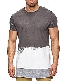 98-86 Herren Oversize Langes T-Shirt mit Printeffekten Longshirt Long S M L XL XXL