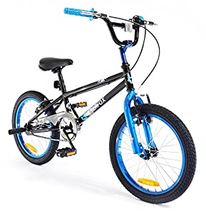 "SilverFox BMX Plank 18"" Bike - Black and Blue - Boys - New Model"