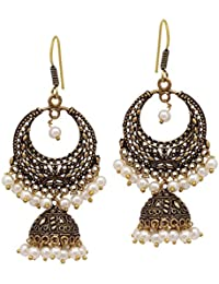 6a75655446 V L IMPEX Dangal with jhumki Black Matel Gold Plating Oxidised with Pearl  Color Beads Girls &