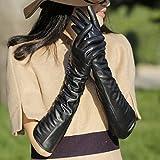 YWANM Las señoras táctil super piel de oveja cuero guantes codo largo caliente en otoño e invierno acolchada manga brazo . s