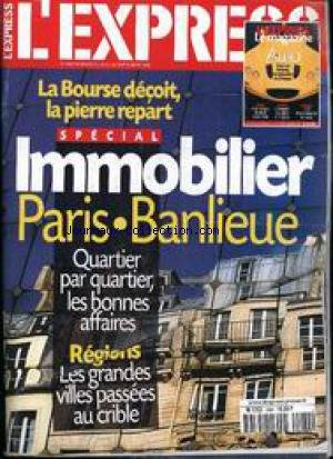 EXPRESS (L') [No 2464] du 24/09/1998 - IMMOBILIER PARIS - BANLIEUE - LA BOURSE - LA PIERRE. par Collectif