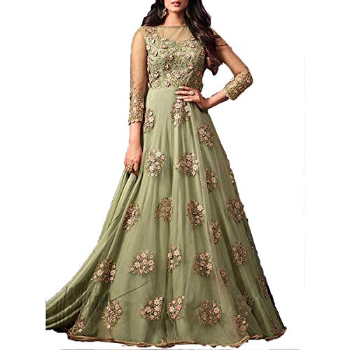 MR CROZY New Latest Anarkali Suits Special Designed For Navratri and Diwali (952Green_Free Size)
