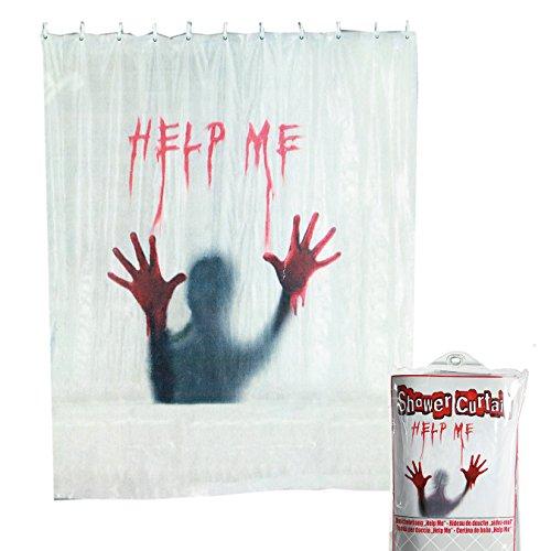 ween Duschvorhang Help Me | Horror | Blutbad Duschvorhang | Halloween Accessoires | Grusel Deko | Scary Blutige Hände | Handabdruck Halloween | Blutbad | Badezimmer Dekoration ()