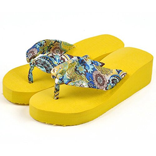 SODIAL(R) Il fiore della Boemia di estate calza i pattini delle piattaforme delle piattaforme delle piattaforme delle donne dei sandali della piattaforma delle donne Dimensione 5 beige Giallo