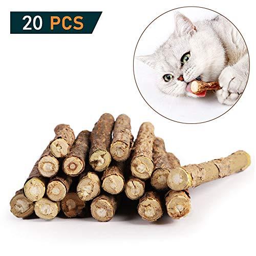 OneBarleycorn - Katzenminze Sticks zum Schleifen von Zähnen, Spielzeug für Katzen, Kätzchen, 100% biologisch, natürlich, Matatabi Zahnpflege, 20 Stück