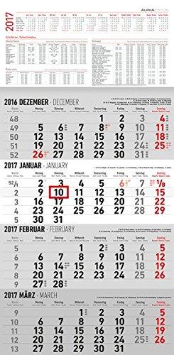 4-Monatskalender 2017 - Wandkalender / Bürokalender (30 x 60) - mit Datumsschieber - mit Jahresübersicht - mit Ferienterminen