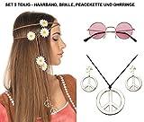 Panelize® Hippieset Mit Blumenhaarband orange Nickelbrille Peacekette und Ohrringen Sparset
