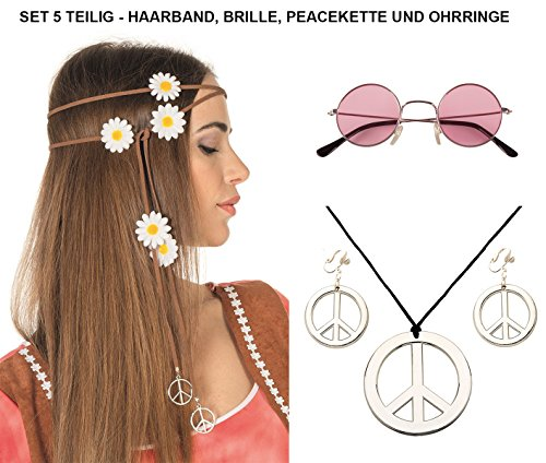 Panelize® Hippieset Mit Blumenhaarband orange Nickelbrille Peacekette und -