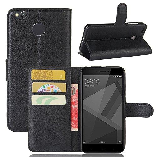 Custodia Xiaomi Redmi 4X, 95street Custodia Portafoglio in pu Pelle, Portafoglio Cover con Porta Carte, Funzione Stand, Chiusura Magnetica Per Xiaomi Redmi 4X Smartphone,Nero