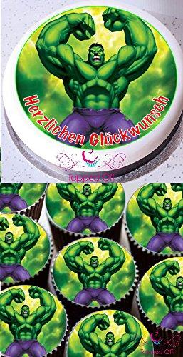 Hulk 1 x 19cm & 12 x 3.8cm Runde Fondant Puderzucker essbare Cake Topper und bedruckt mit Ihrem benutzerdefinierte Begrüßung (Geburtstag - Fondant Topper Cake