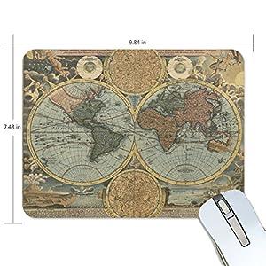 ZZKKO Retro Vintage Mapa Mundial Antideslizante 9.84 «(L) x 7.48 «(W) x 0.2» (H) Alfombrilla de ratón de goma para Home Office Laptop Ordenador Teclado de escritorio