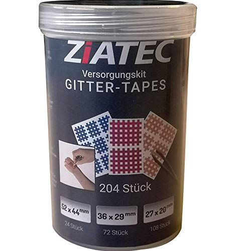 Ziatec Gitter-Tape Versorgungskit mit Schutzdose, 204 Pflaster (Kleber Punkt-linien)