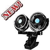 Doble cabeza 12V coche eléctrico ventilador, Afterpartz hx-02360grado giratorio para coche Auto aire de refrigeración termostato ventilador de camión SUV RV barco Auto Vehículos