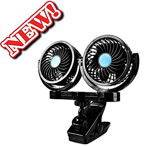 Dual Head 12V Electric Car Fan, AFTERPARTZ HX-02 360 Degree Rotatable Car Auto Cooling Air Circulator Fan for Truck SUV RV Boat Auto