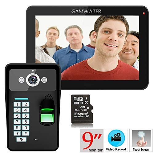 Preisvergleich Produktbild HUALI 9inch Aufnahme RFID-Password Fingerprint Erkennung 900TVL Color Video Door Telefon Intercom Regenschutz Night Vision 8G TF Card