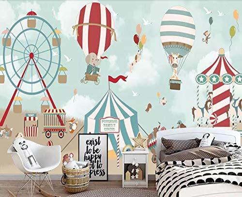 Minyose Custom 3D wallpaper Cartoon hot air balloon circus Children's room background wall living room bedroom backdrop wallpaper-450cmx300cm -