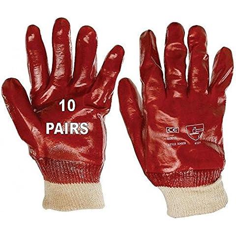 10PVC de punto rojo totalmente recubierto guantes de punto muñeca tamaño 10x grande CS/G140X 10