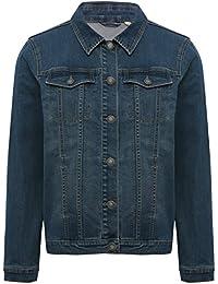 M&Co Ladies Cotton Rich Long Sleeve Button Front Dark Wash Denim Jacket