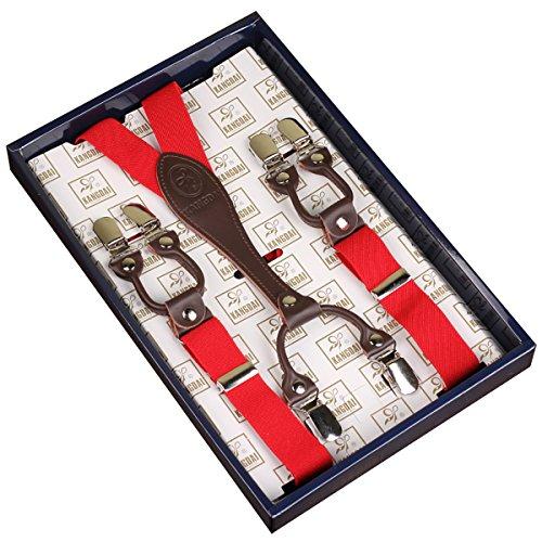 Frau / Mann Hosenträger Moderne Einstellbare und Hohe Qualität KANGDAI 6 Clips mit Y-Zurück Durable Breite Elastische Straps Hosenträger Abnehmbarer Gürtel für Hosen Hosenträger (rot) (Abnehmbare Schnalle Rot)