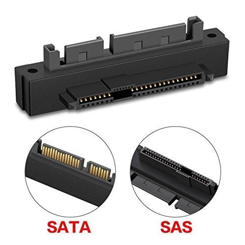 xqjtech 90Grad Rechts abgewinkelt SATA 22pin 7+ 15Stecker auf SFF-8482SAS 22Pin Weiblich Verlängerung-Konverter Adapter für Festplatte Dri