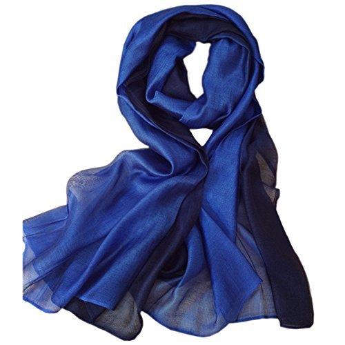 Uni-love Summer Silk Scarf Gradient Color Long Lightweight Sunscreen Shawls for Women (Blue)