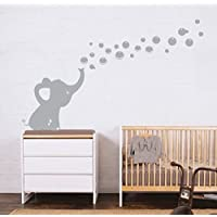 MAFENT One Lovely Elephant Blowing Bubbles Wall Decal Vinyl Wall Sticker for Baby Nursery and Kids Room Wall Decorations (Grey,Right)