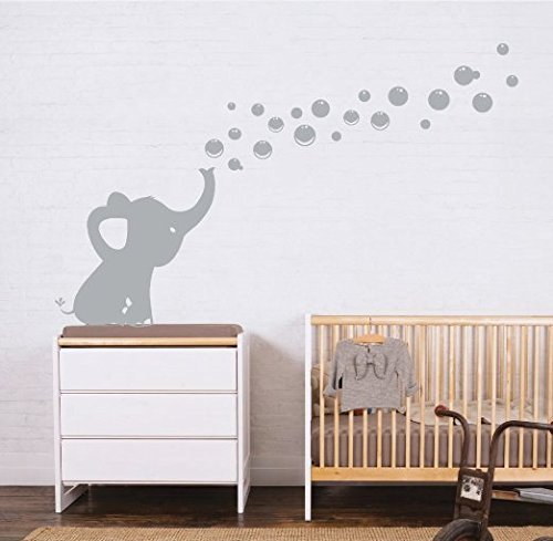 MAFENT One lovely Elephant Blowing Bubbles Wall Decal Vinyl Wall Sticker for Baby Nursery and Kids Room Wall Decorations (Grey)