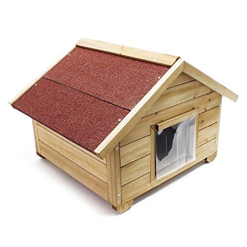 Wiltec Kleines Katzenhaus für Garten oder Terasse Katzenhütte Wurfkiste isoliert wetterfest