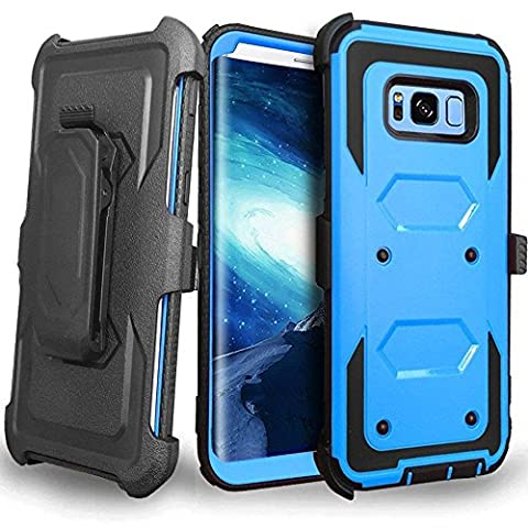CellularOutfitter Samsung Galaxy S8 Plus Triple Protection Rugged and Holster Shell Combo Phone Case - Heavy Duty, Shock-Resistant - Blue/Black