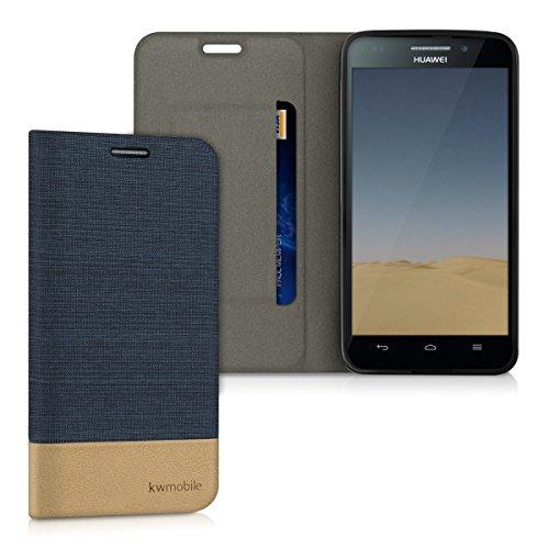 kwmobile Flip Hülle Case für Huawei Ascend G620s - Schutzhülle Cover Bookstyle aus Kunstleder und Textil in Dunkelblau Braun
