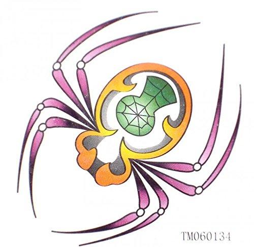 e Tätowierungaufkleber Spinne farbigen Insekten (Schnurrbart-leuchten)