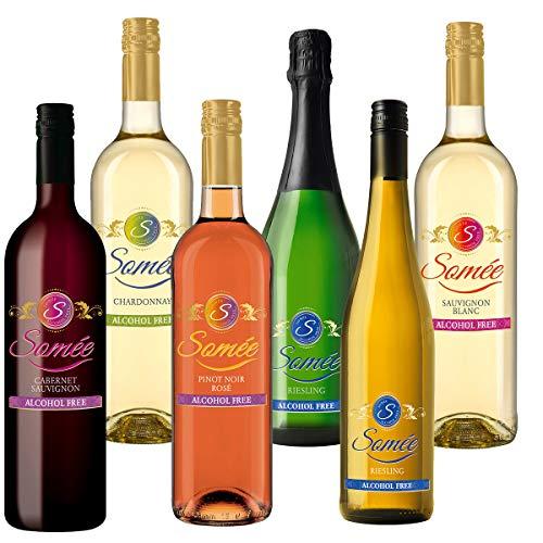 Somée Alkoholfreier Wein Paket - Rotwein, Weißwein, Roséwein alkoholfrei - z.B. Chardonnay, Cabernet Sauvignon, Riesling etc. (6x0,75l)