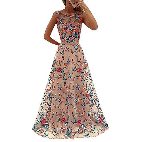 Shujin Damen Elegant A-Linie Ärmellos oder kurzarm Brautjungfern Kleid Floral Spitzen Abendkleid Prinzessin Tüllkleid Ballkleid Cocktail Party hochzeit Maxikleid lang