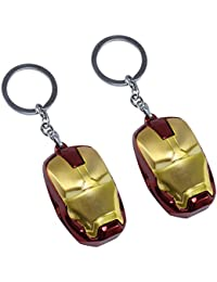 Saamarth Impex Marvel Iron Man Suit Face Design Red And Yellow Color Key Chain 2 Piece SI-5747