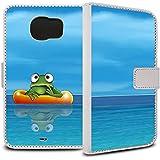 YOUNiiK Booklet Case Tasche (weiß) für Samsung Galaxy S6 SM-G920F - Die kleinen Habichts Frosch