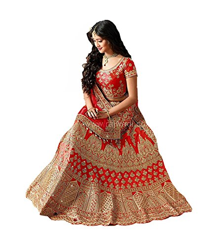 Rozdeal Women's Taffeta Silk Lehenga Choli (Rdl129-Sn71,Red,Free Size)