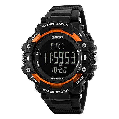 Sport Schrittzähler Herzfrequenz-Messgerät Kalorienzähler Fitness Stoppuhr Kalender Wasserdicht Digital Armbanduhren für Jungen Herren, Orange