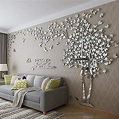 Idea Regalo - Albero Adesivo da Parete, Alberi e Uccelli 3D Adesivi Murali Arts Wall Sticker Decorativi per TV Par (M-250 * 130cm, Argento Destra)