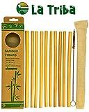 La Triba   10 pailles en bambou réutilisables bio de 20cm   coupées à la main au Vietnam   écologiques biodégradables naturelles   idéales pour jus smoothies thé   brosse de nettoyage et pochette