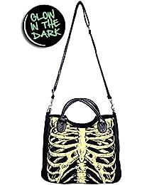 Banned Skeleton Glow in the Dark Rock Goth Punk Handbag or Shoulder Bag