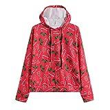MRULIC Mode Frauen Weihnachtsbaum Drucken Hoodie Sweatshirt Winter Jumper Damen Bluse Pullover Sweater Basic Classic Schwarzes Hemd(Rot,EU-38/CN-M)