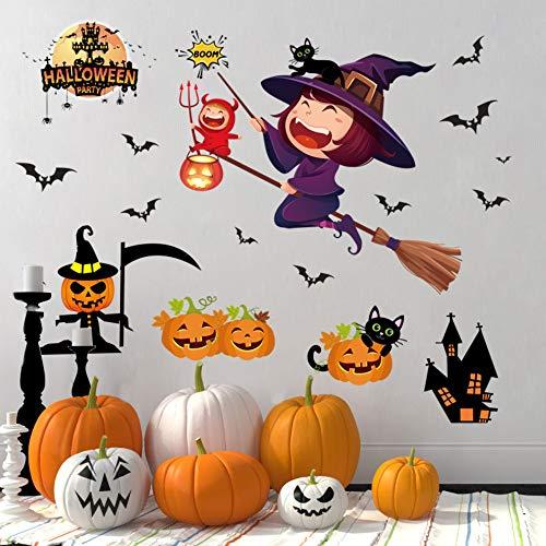 Halloween dekorative wandaufkleber cartoon hexe fledermaus kürbis lampe schwarze katze kinderzimmer wohnzimmer diy wandbilder ()